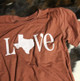 burnt orange Texas love tee