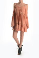 Light Burnt Orange Open Shoulder Dress