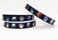 Ribbon Fancy Black with Confetti Paws