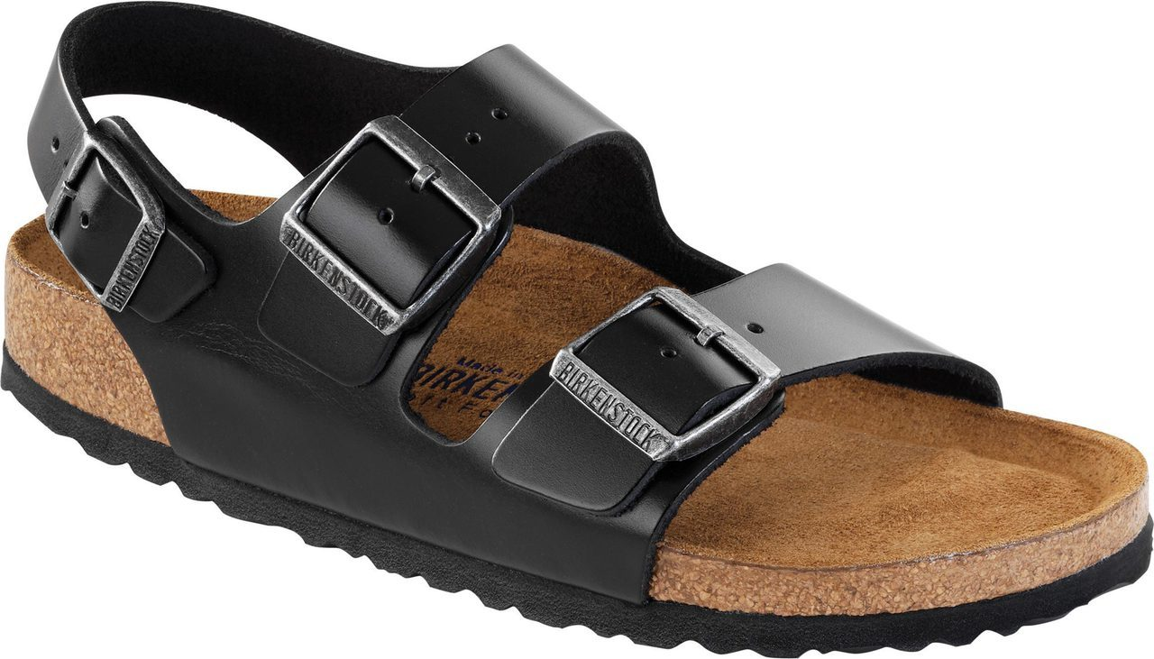 Birkenstock Milano Soft Footbed in Black Amalfi Leather