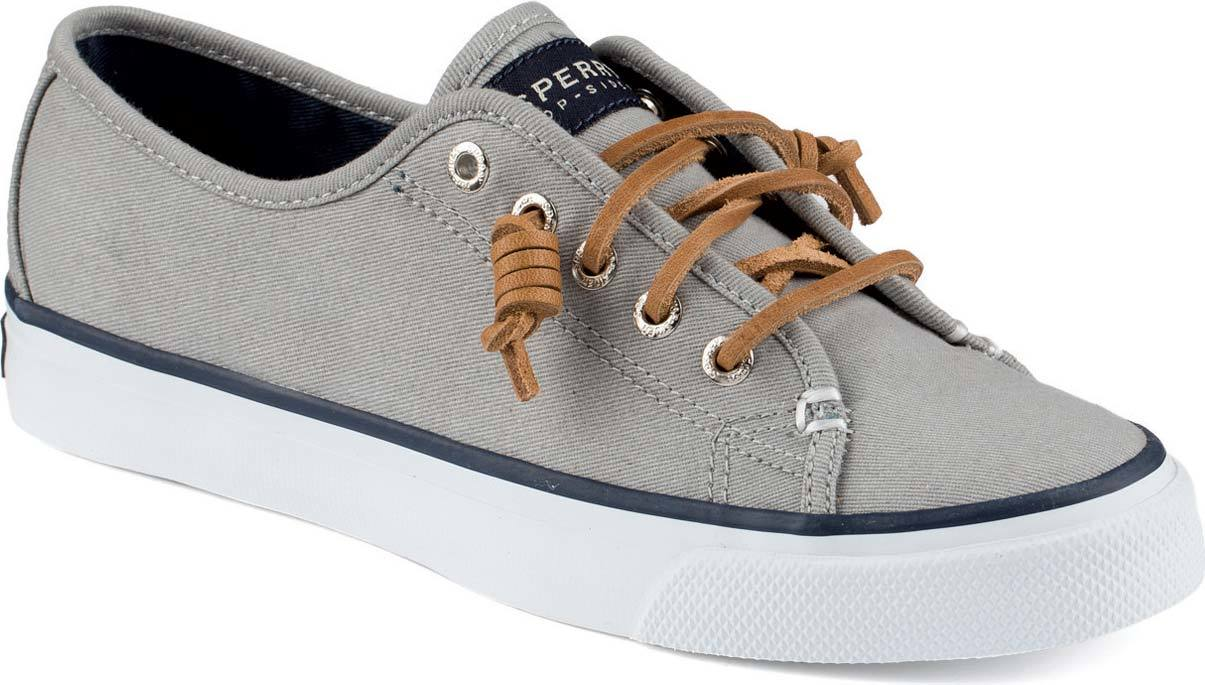 Sperry Seacoast Canvas in Light Charcoal Burnished Canvas