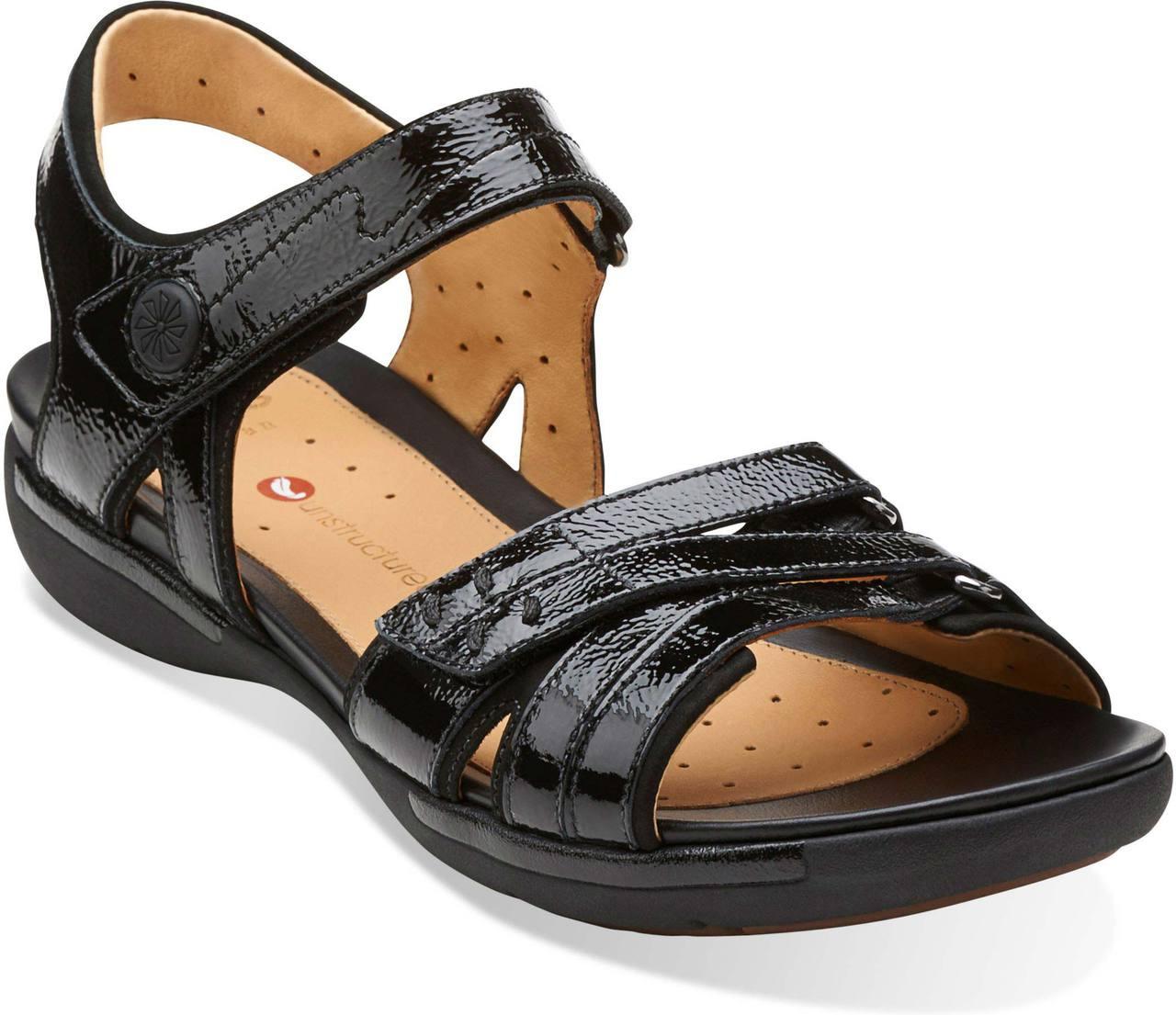 Womens Sandals Clarks Un Vasha Black Patent Leather