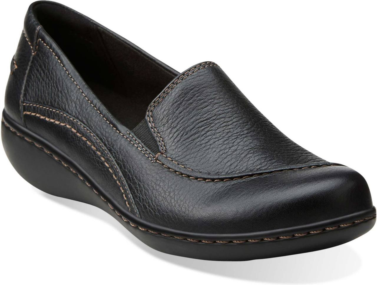 Women's Slip Ons Loafers/Clarks Ashland Violet Navy Tumbled Leather