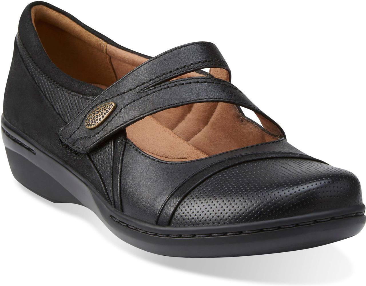 Clarks Womens Casual Clarks Evianna Crown Leather Shoes In Black GE_3048