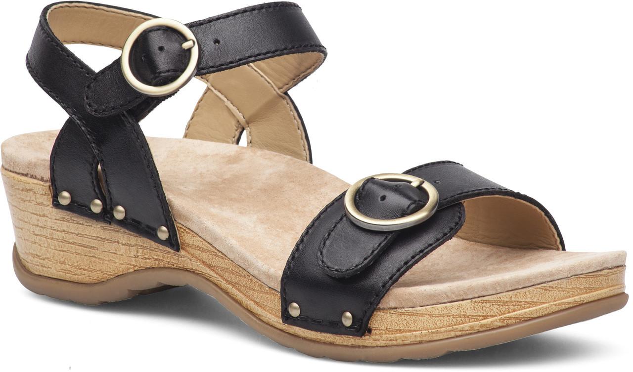 Black dansko sandals -  Wedge Sandals Dansko Mabel Black Full Grain Leather