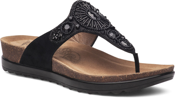 Black Jeweled Suede Leather