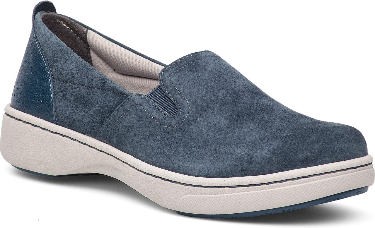 Blue Textured Canvas Fabric; Navy Suede Leather ...
