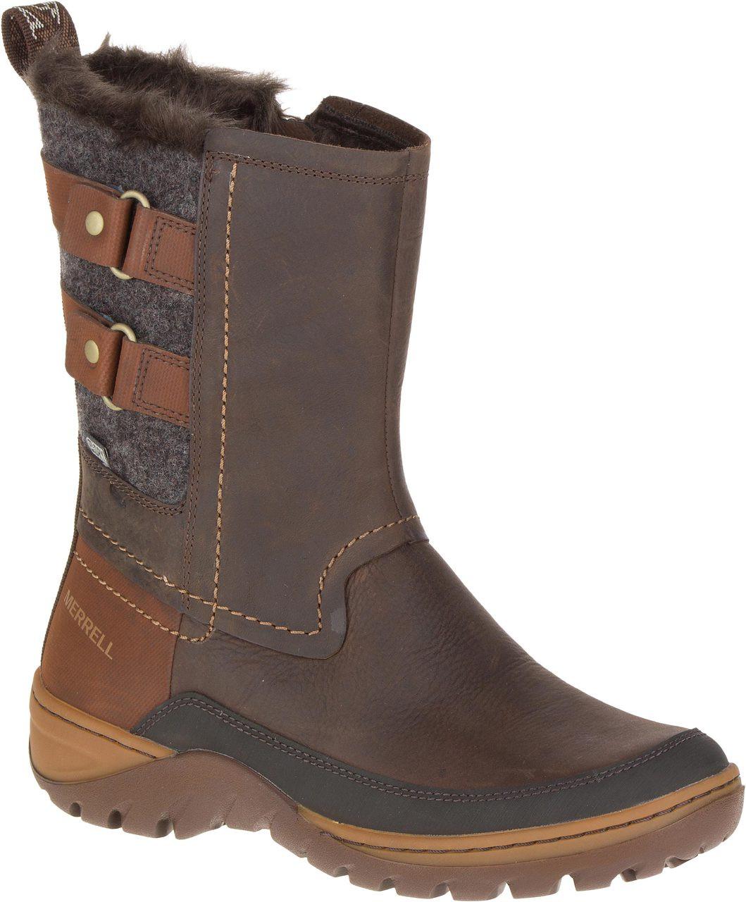 Merrell Women's Sylva Mid Buckle Waterproof Snow Boots, Tan