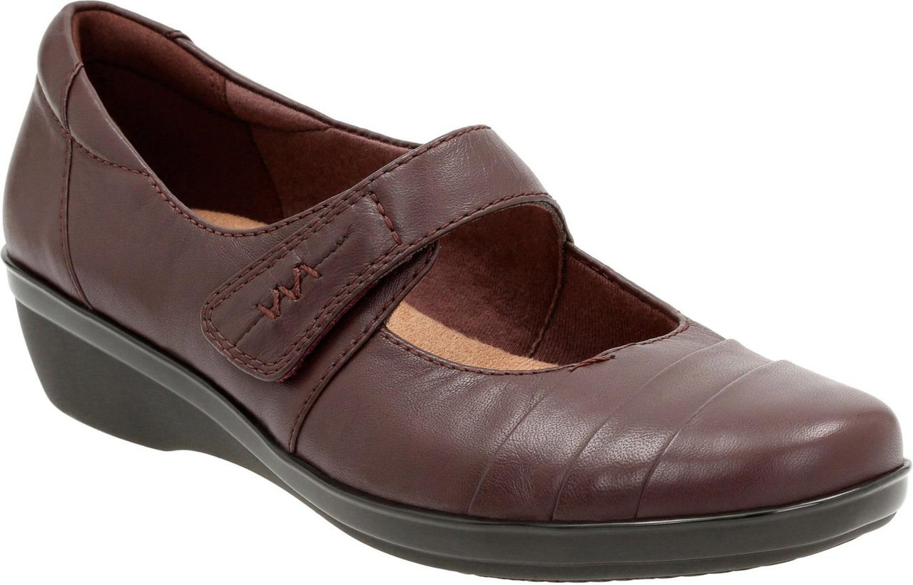 Clarks Women's Everlay Kennon Mary Jane Flat, Brown Leather, 8.5 W US