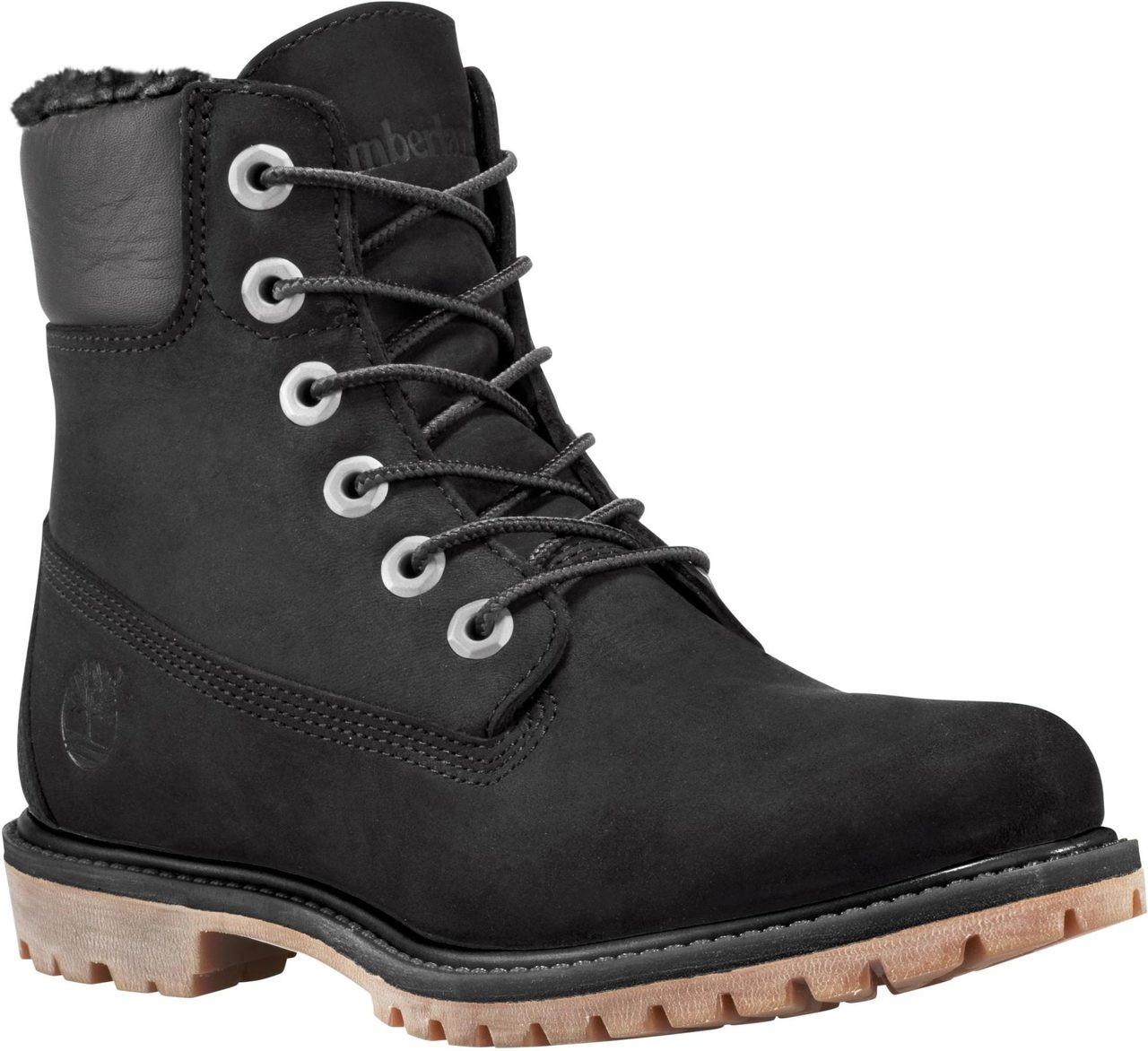 Boots Timberland Womens 6Inch Premium FleeceLined Black Nubuck