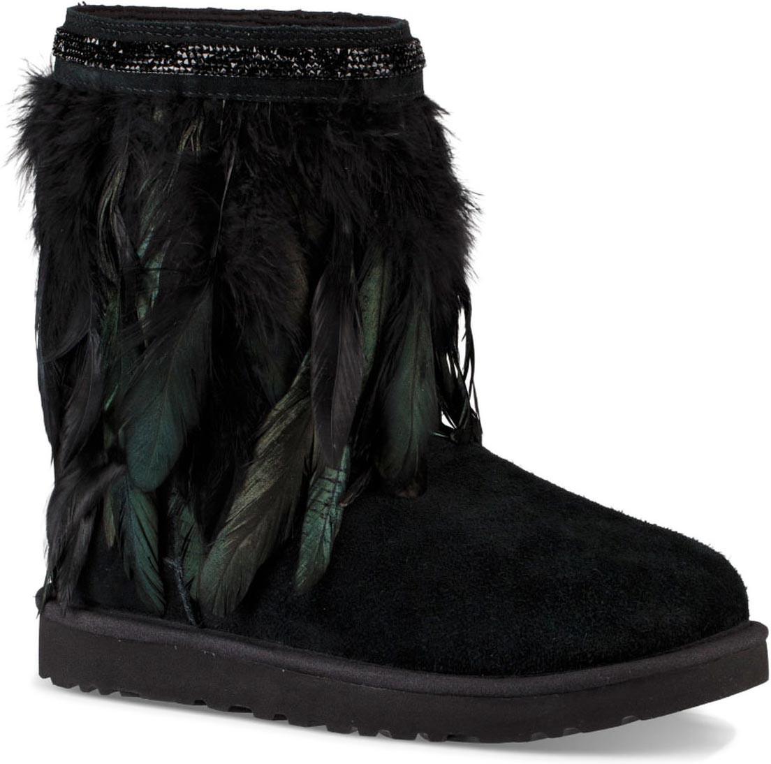 ugg womens classic short leather boots feather black rh turn keymortgage com
