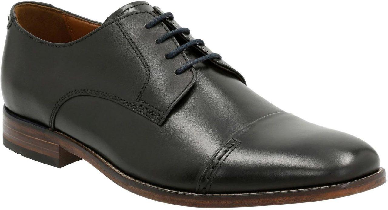 Men'S Clarks Black Leather Narrate Cap