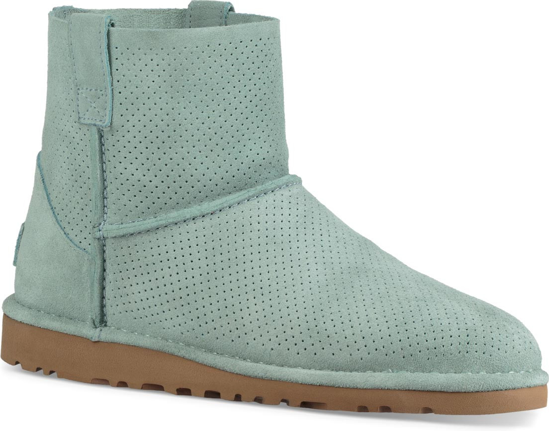 ugg classic unlined mini perforated suede booties