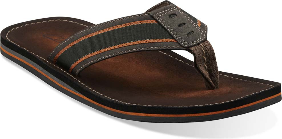clarks leather flip flops mens