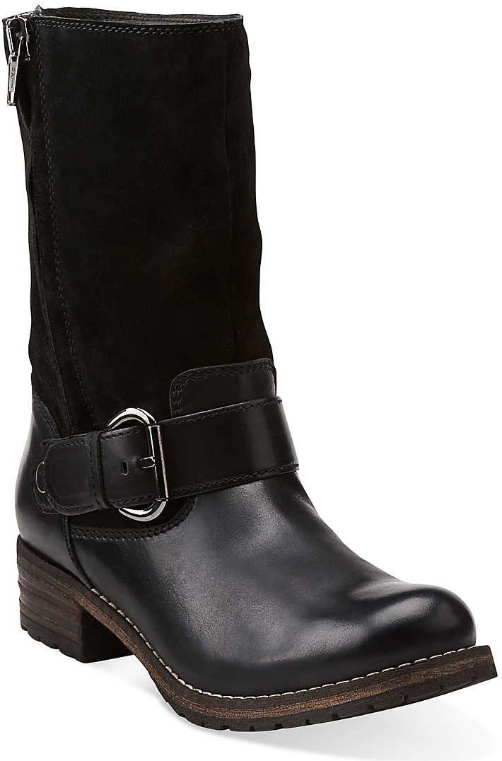 Womens Boots Clarks Majorca Isle Black Leather/Black Suede