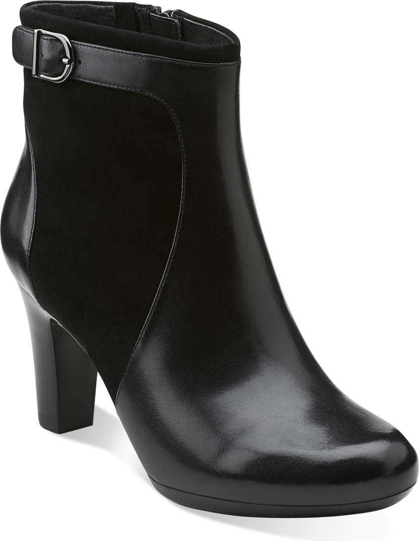 Womens Boots Clarks Society Round Black Leather