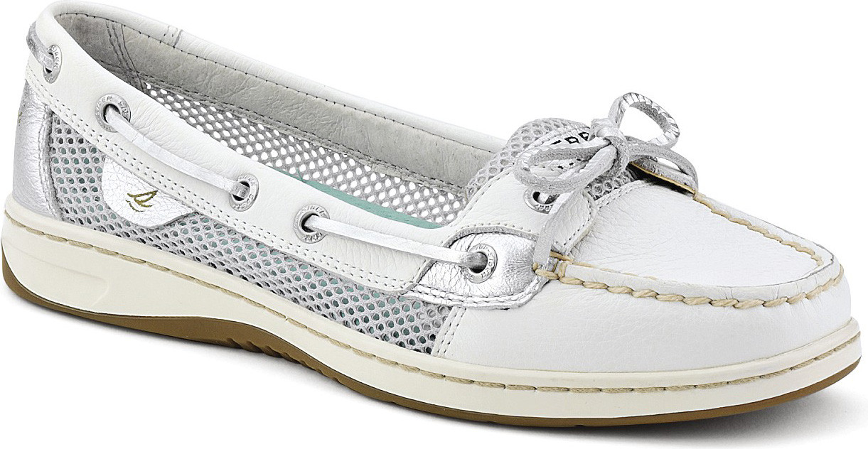 White Leather/Silver Open Mesh