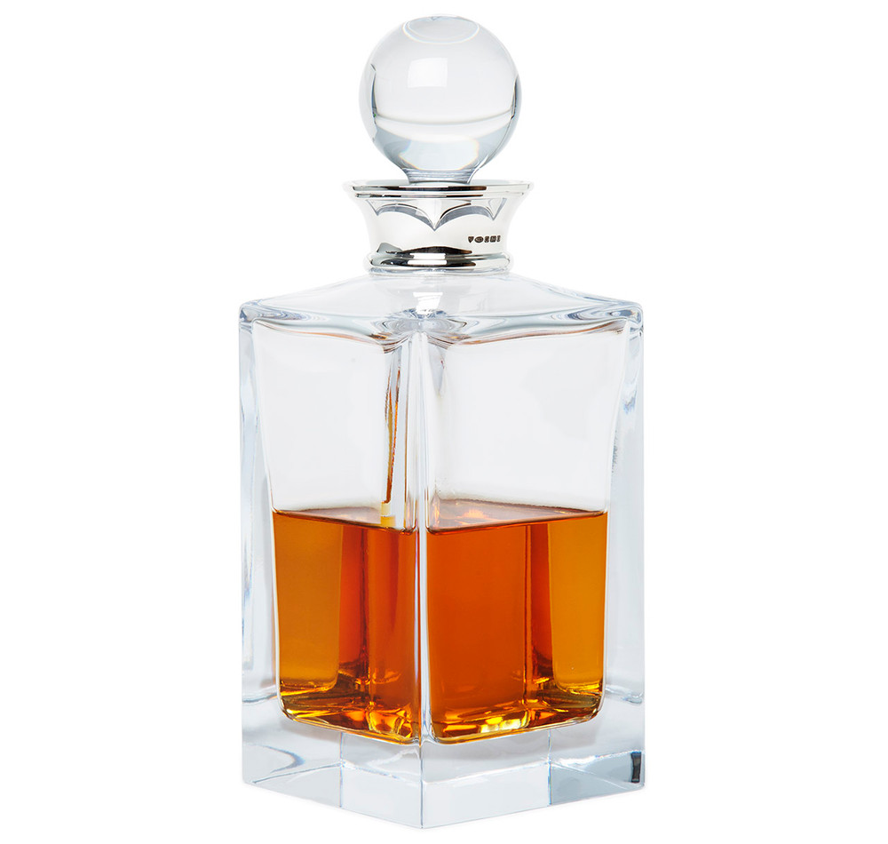 sterling silver crystal square whiskey decanter sir jack 39 s. Black Bedroom Furniture Sets. Home Design Ideas