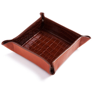 Glazed Brown Crocodile Valet Tray