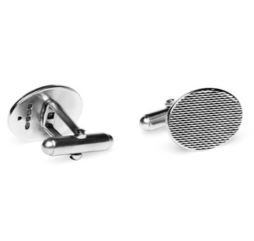 Sterling Engine Turned Oval Cufflinks