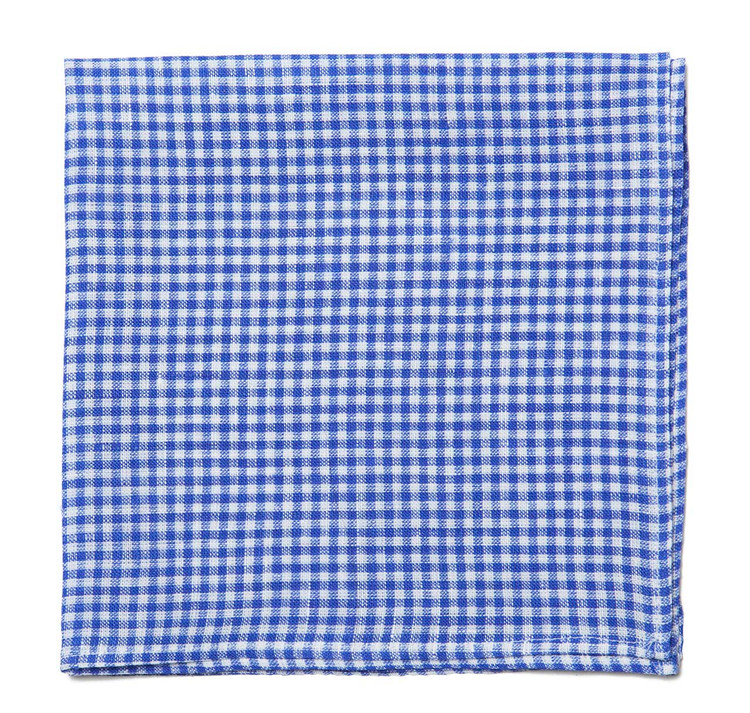 Blue Gingham Linen Pocket Square