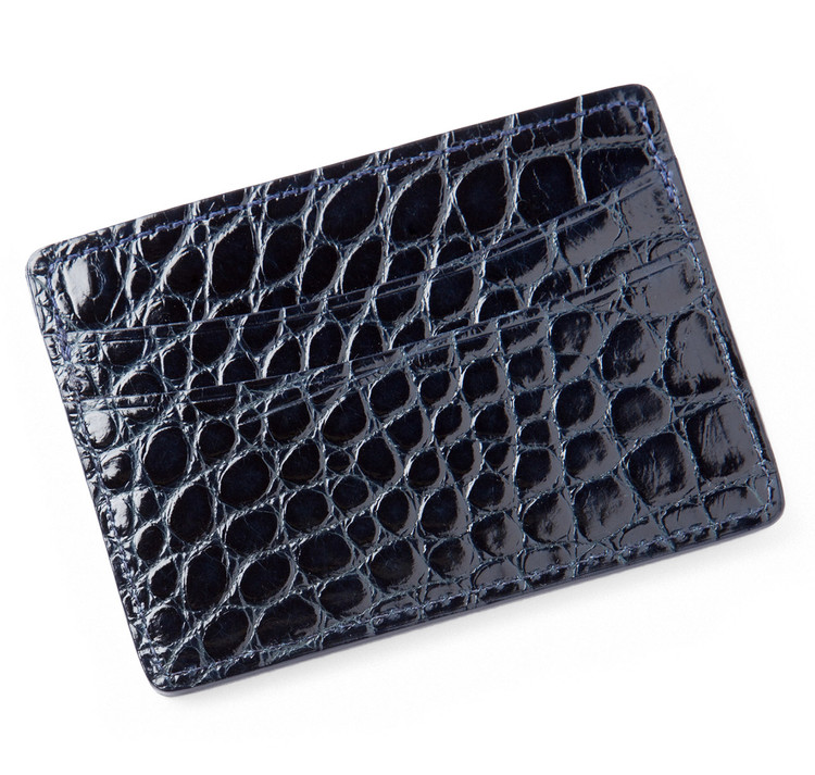 Glazed Navy Alligator Card Holder