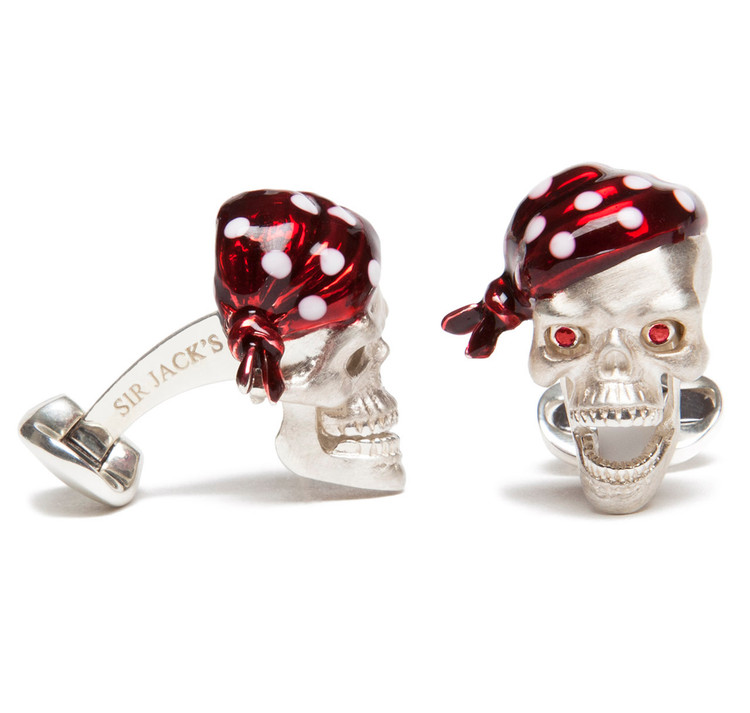 Sir Jack's Sterling Silver Pirate Skull & Ruby Eyes Cufflinks
