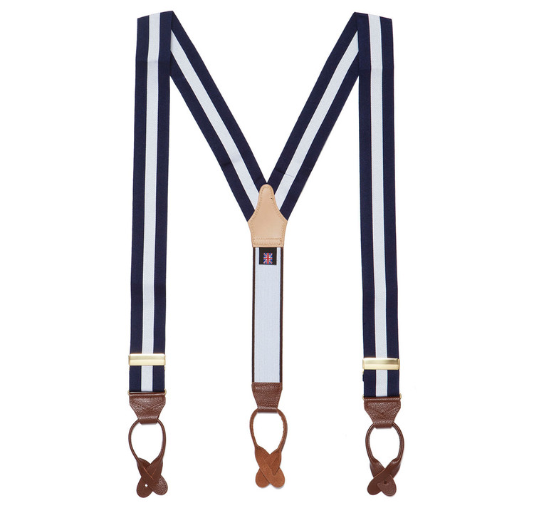 Sir Jack's Classic Navy and Silver Stripe Brace