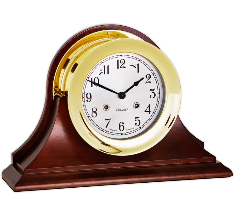 """Chelsea Clock 6""""  Shipstrike Clock in Brass on Traditional Base"""