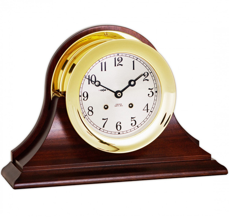 """Chelsea 6"""" Ship's Bell Clock, Traditional Base"""