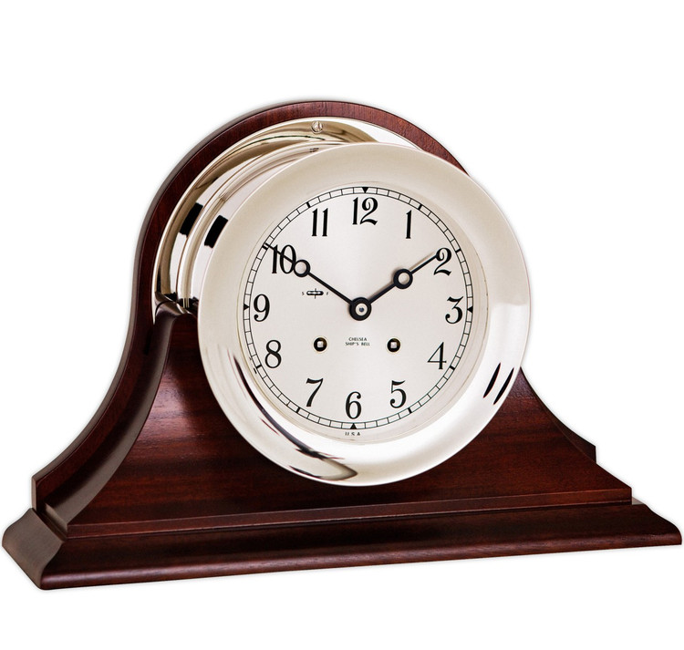 """Chelsea 6"""" Ship's Bell Clock in Nickel, Traditional Base"""