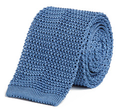 Classic Knit Silk Tie in Marina Blue