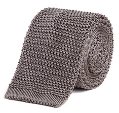 Classic Knit Silk Tie in Silver