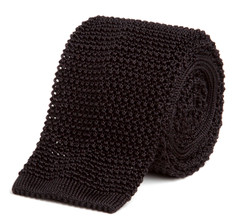Classic Knit Silk Tie in Black