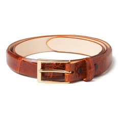 Glazed Alligator Belt in Cognac