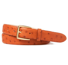 Ostrich belt in Tan