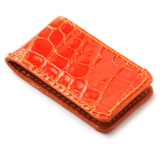 Glazed Alligator Money Clip in Tangerine
