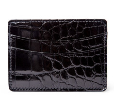 Glazed Black Alligator Card Holder