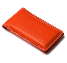 Orange Calfskin Money Clip