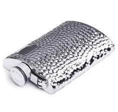 6oz Pewter Hammered Kidney Captive Top Flask