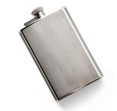 James Dixon & Sons Silver-Plated Engine Turned Hip Flask