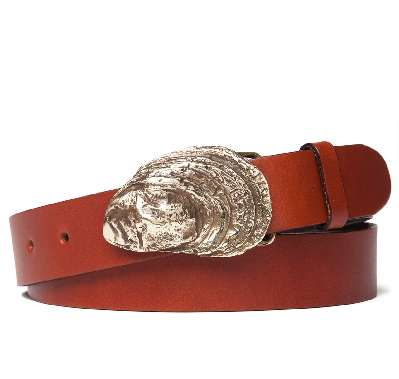 oyster shell buckle with leather belt sir s