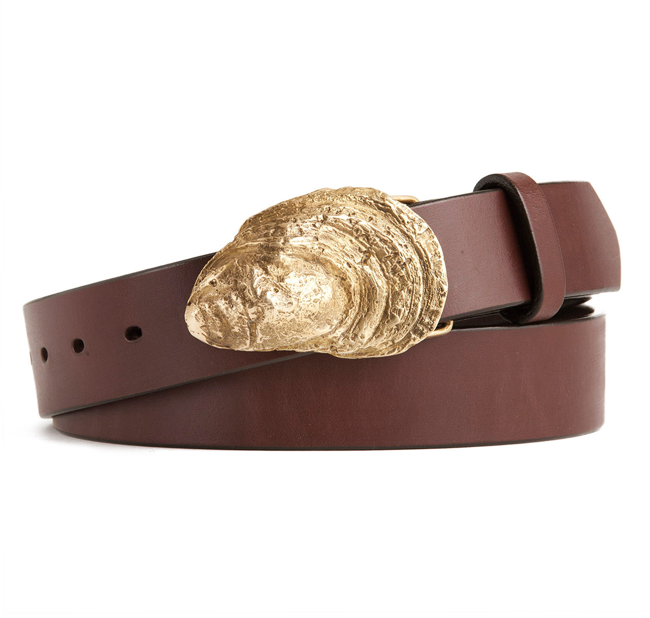 oyster shell buckle with brown leather belt sir s