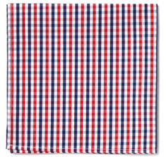 Blue &amp; Red Gingham Pocket Square