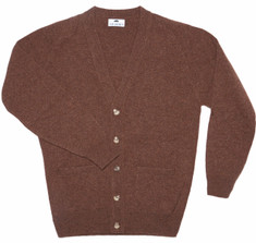 Lambswool V Neck Cardigan in Cavendish Brown
