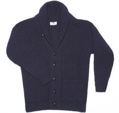 Highland Navy Shawl Cardigan Sweater
