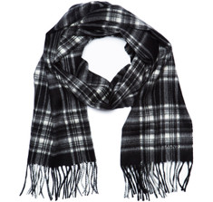 Sir Jack&#039;s Cashmere Black &amp; White Stewart Tartan Scarf