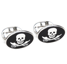 Pirate Skull &amp; Swords Sterling Silver Cufflinks