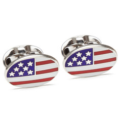 American Flag Sterling Silver Cufflinks