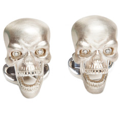 Sir Jack&#039;s Sterling Silver Skull &amp; Diamond Eyes Cufflinks